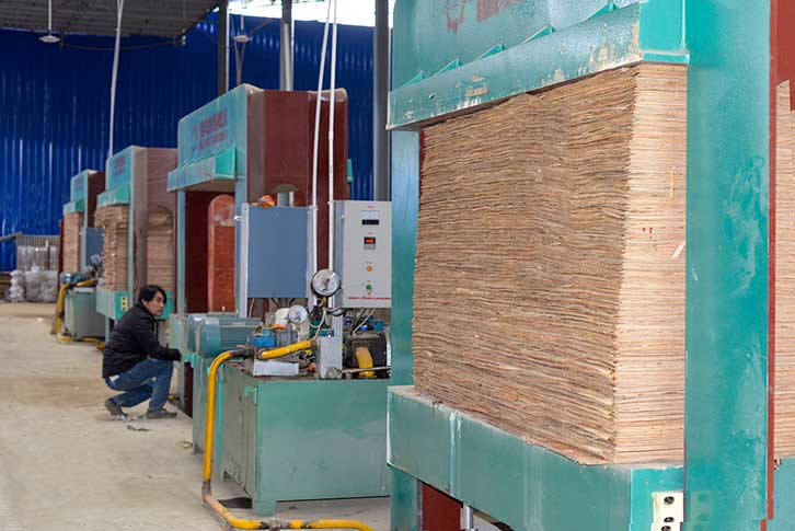 广西建筑模板生产现场